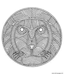 free mandala difficult print lion coloring pages printable
