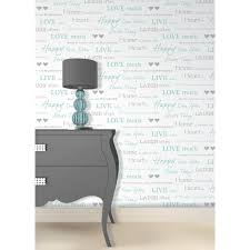 Live Laugh Love Home Decor by Fine Decor Wall Words Live Love Laugh Wallpaper White Grey Teal