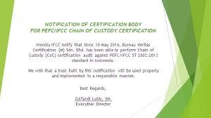 bureau veritas indonesia ifcc notification for certification coc bureau veritas