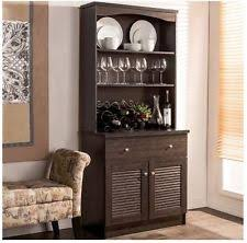 hutch buffet table with wine rack kitchen china cabinet black
