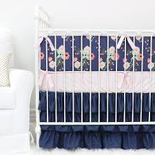 Navy Nursery Bedding Berkeley U0027s Navy U0026 Blush Floral Ruffle Crib Bedding Caden Lane