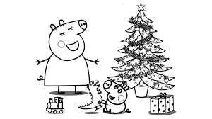 peppa pig christmas coloring book pages kids learn colours art