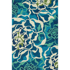 Blue Wave Rug Shop Ventura Floral Wave Aqua Outdoor Rug 7ft 10in Round Loloi