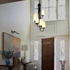 Contemporary Foyer Chandelier 7 Light Painting Twig Wrought Iron Modern Foyer Chandeliers