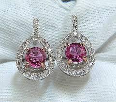 top earing 18kt 3 00ct top gem pink sapphire diamond earring cluster