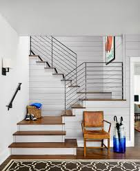 Stair Handrail Ideas Austin Stair Railing Ideas Staircase Farmhouse With Framed Artwork