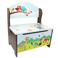 Kids Storage Bench Fantasy Fields Enchanted Woodland Themed Kids Storage Bench