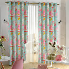 Teal Bird Curtains Sweet Bird Print Curtains In Colorful For