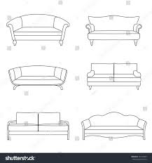 Sofa Drawing by Set Outline Sofa Isolated On White Stock Vector 397149955