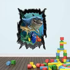 home decor wall stickers 3d shark vivid marine animals wall decals