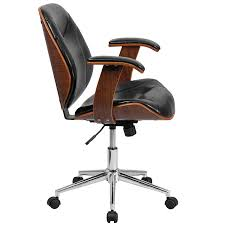 Office Chair Black Leather Amazon Com Flash Furniture Mid Back Black Leather Executive Wood