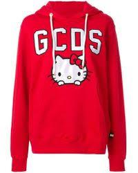 gcds kitty hoodie white lyst