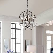 Sphere Chandelier With Crystals Sphere Chandelier Antique Bronze And Inch Sphere