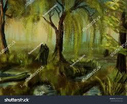 trees growing bogs digital drawing sketch stock illustration