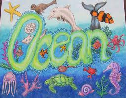 ocean painting drawing original doodle art ocean nursery art