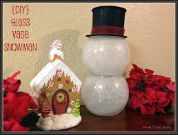 Glass Vase Snowman Decor Craft DIY}