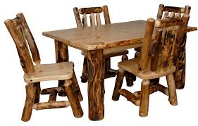 Rustic Aspen Log Kitchen Table Set Table   Dining Chairs - Kitchen table chairs