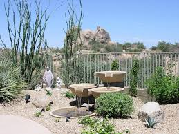 Desert Patio Modern Outdoor Fountain Spaces Traditional With Flagstone Cap
