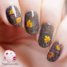 piggieluv freehand fall garden path nail art