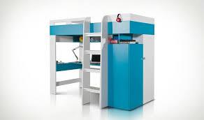 chambre enfant avec bureau combiné lit enfant bleu et blanc avec bureau armoire et dressing