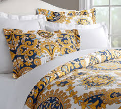 Navy And Yellow Bedding Kendall Scarf Sateen Organic Duvet Cover U0026 Sham Pottery Barn