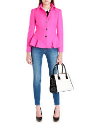 ted baker wool peplum coat in pink lyst