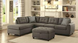 Grey Sofa Sectional by Stonenesse Grey Linen Contemporary Style Reversible Sofa Sectional