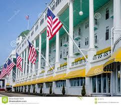 Michigan Flags Grand Hotel On Mackinac Island In Northern Michigan Editorial