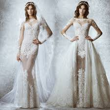 Elegant Wedding Gowns 2017 Long Sleeves Sheer Lace Wedding Dresses Removable Overskirt A