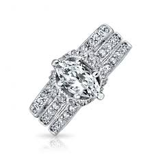 weddings rings set images Marquise pave cz engagement wedding ring set 925 sterling silver jpg