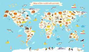 Venezuela World Map by Animals World Map Illustrations Creative Market