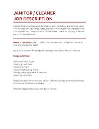 Janitor Job Description For Resume by Job Description Templates The Definitive Guide