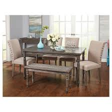6 piece burntwood parson dining set with bench weathered gray