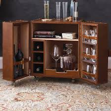 Trunk Bar Cabinet Furniture Leather Trunk Bar End Table Wine Enthusiast