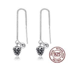 allergy free jewelry s925 sterling silver ear line type drop earrings with