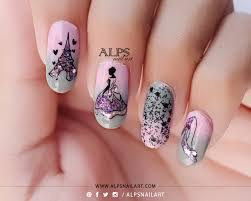 cinderella nails with pink and grey gradient nail art by
