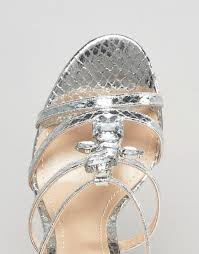 true decadence silver embellished strappy heeled sandals in