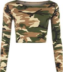 army pattern crop top new womens army camouflage print long sleeve short stretch ladies