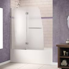 dreamline aqua lux 48 in x 58 in frameless pivot tub shower door