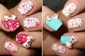 acrylic nails with pocker dot as nail art and 3d bows on ring 46