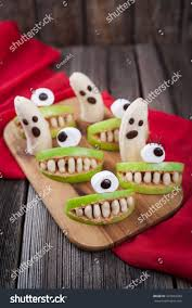 scary halloween food edible monsters healthy stock photo 327824393