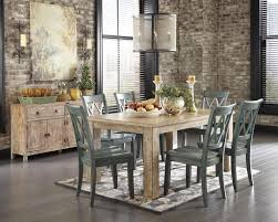 Pine Dining Room Set Signature Design By Ashley Mestler Driftwood Finish Rectangular