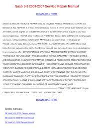 saab 9 3 2003 2007 service repair manual by kendrickjudd issuu