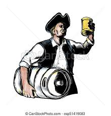 stock illustration of american patriot carry beer keg scratchboard