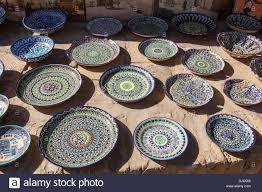 ceramic plates and bowls for sale ichan kala khiva uzbekistan