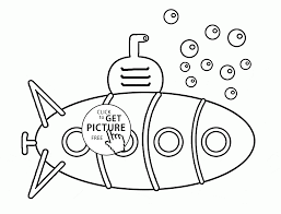 funny submarine and bubbles coloring page for kids transportation