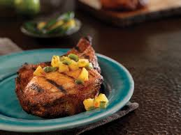 chili rubbed pork chops with grilled pineapple salsa pork