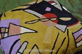 Accent Sofa Pillows by Kandinsky Black Violet Modern Throw Pillows Gold Yellow Cushion