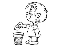 boy recycling paper coloring coloringcrew