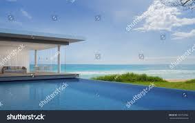 luxury beach house sea view modern stock illustration 539752966
